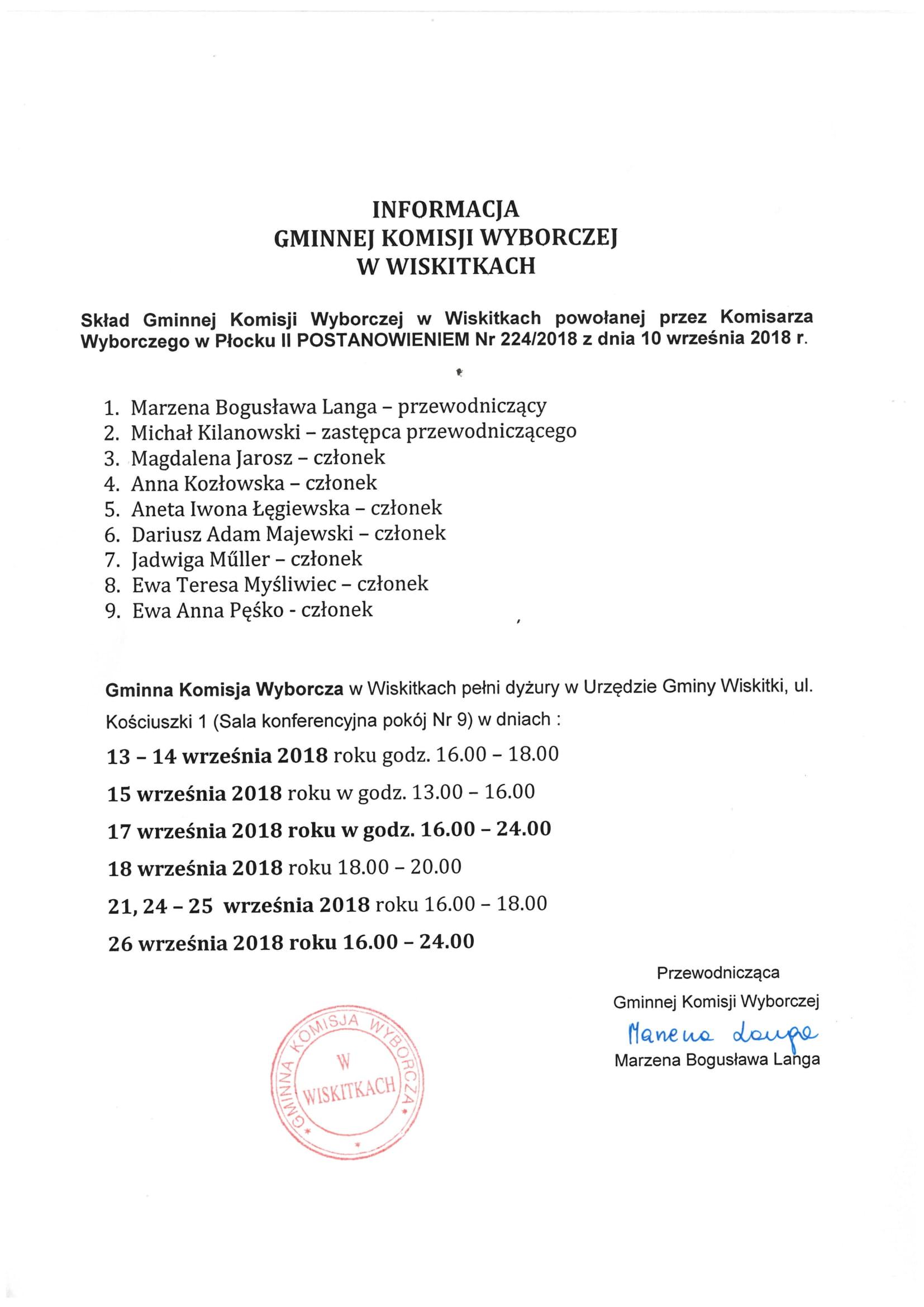 Informacja Gminnej Komisji Wyborczej w Wiskitkach dot. dyżurów-1