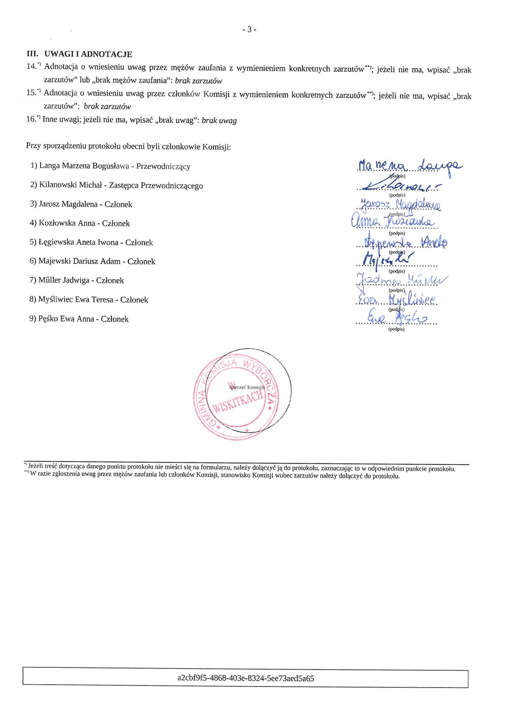 Protokół Wyników Głosowania i Wyników Wyborów Wójta Gminy Wiskitki-3