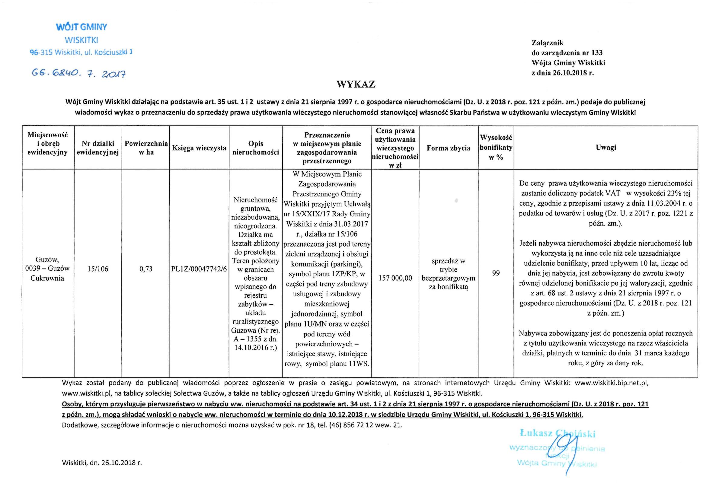 wykaz nieruchomości do sprzedaży uw. dz. 15_106 Guzów Cukrownia-1