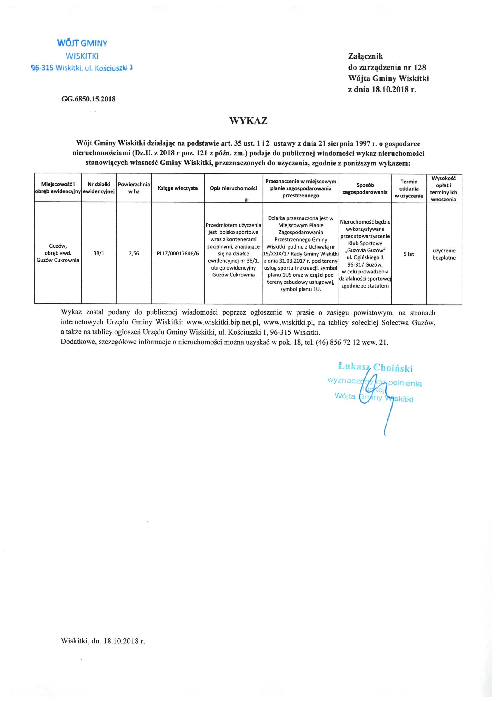 wykaz nieruchomości do użyczenia dz. 38_1 Guzów Cukrownia-1
