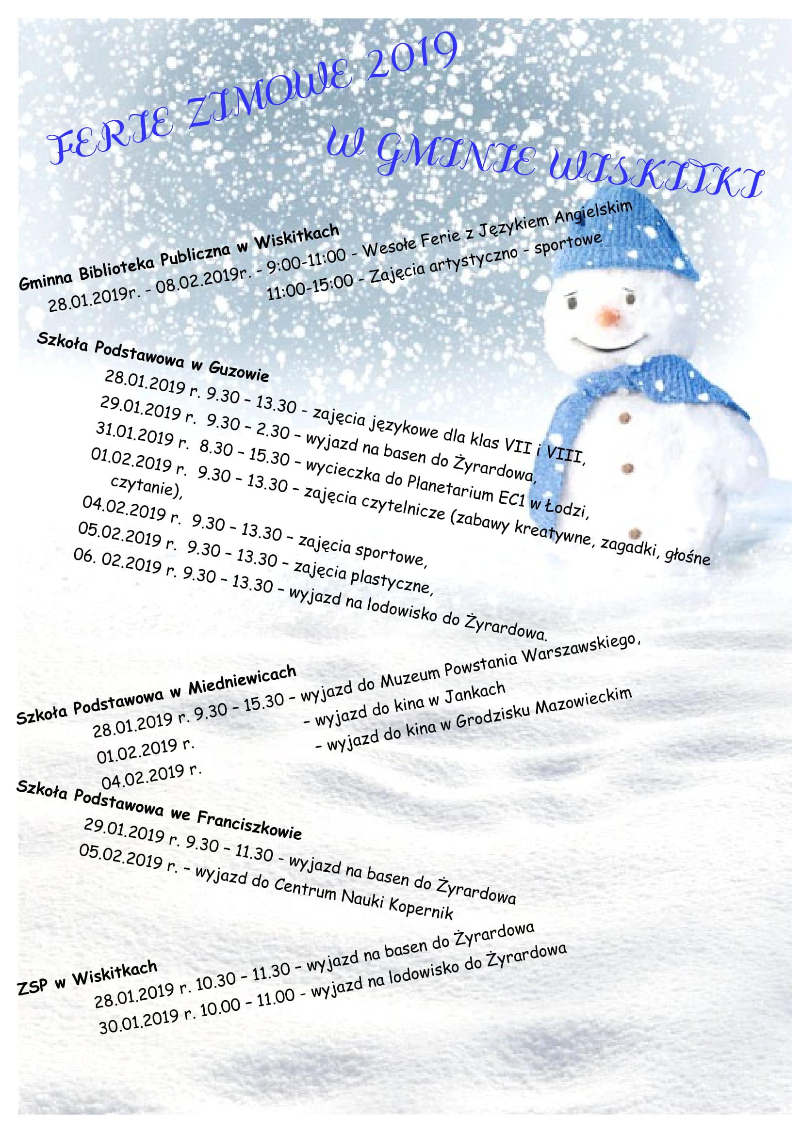 Harmonogram ferii zimowych 2019 r-1